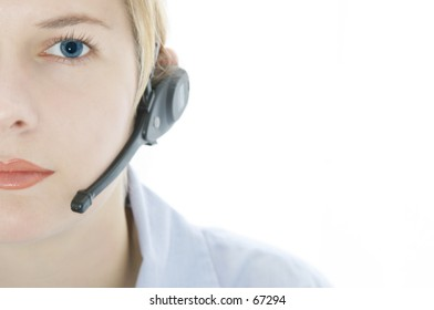 half female face with headset,soft image,only focus on eyes and lips