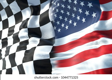half flags of checkered flag, end race and half united states of america usa flag, sport formula one competition concept