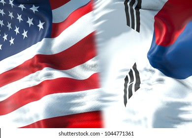half flags of united states of america and half south korea flag, crisis between usa american and south korean state international meeting or negotiations concept
