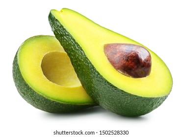 Half of fresh avocado isolated on white. Ripe fresh green avocado Clipping Path