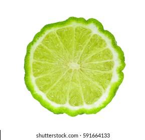 half of fresh bergamot isolated on white background