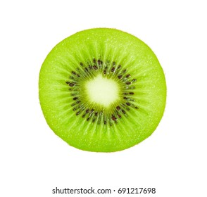 A half of fresh kiwi fruits isolated on white background.