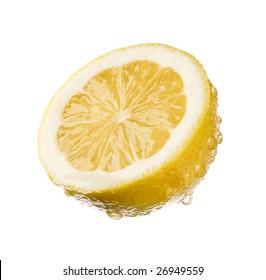 half of fresh lemon isolated close up shoot