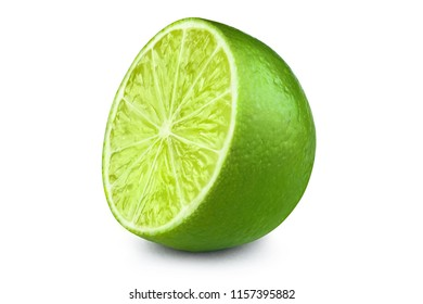 Half of fresh lime, isolated on white background