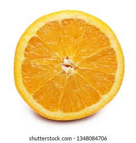 Half fresh orange isolated on white background