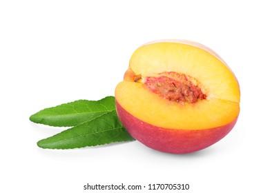 Half of fresh peach on white background