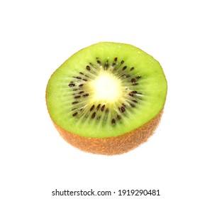 Half of fresh ripe kiwi isolated on white