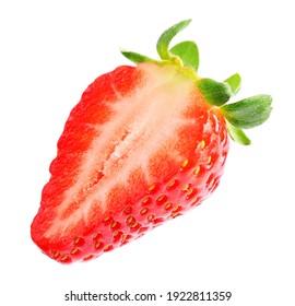 Half of fresh strawberry isolated on white