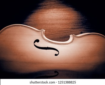 The half front side of raw violin,vintage and art tone,blurry light around