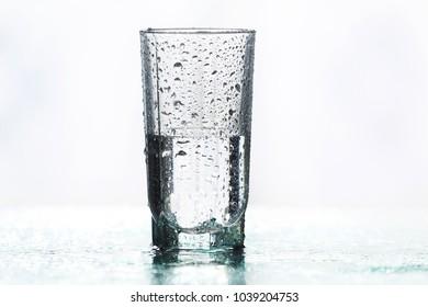 Half full half empty glass of water