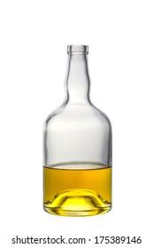 A half full open whiskey bottle isolated on white