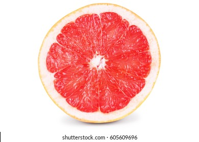 Half grapefruit citrus fruit isolated on white with clipping path