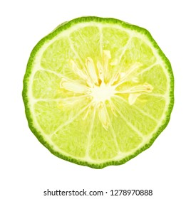 Half of green fresh bergamot fruit isolated on white background with clipping path.