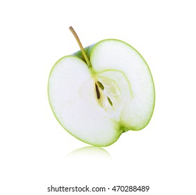 half of green granny smith apple isolate on white