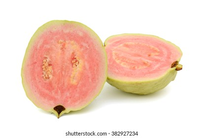 Half of guava fruit isolated on white background
