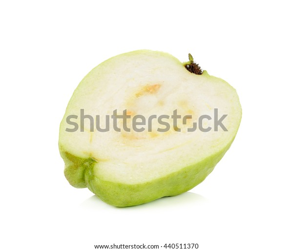 Half of Guava fruit isolated on the white background.