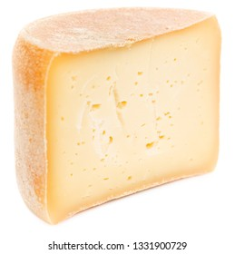 Half of head (Wheel) of natural hard cheese isolated on white background.