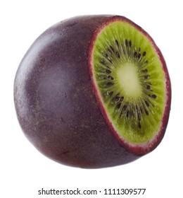 half of hybrid of kiwi and passion fruit isolated on white background