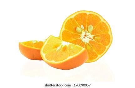 Half of juicy fresh orange isolated on white background