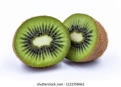 Half of kiwi fruit isolated on white isolated background