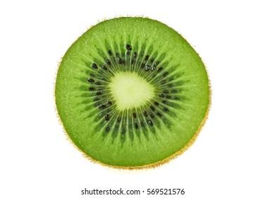 Half of kiwi fruit isolated on white background