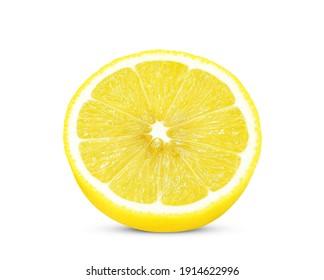 Half of lemon fruit isolated on white background.