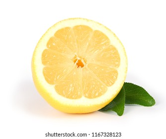 Half a lemon fruit with leaf