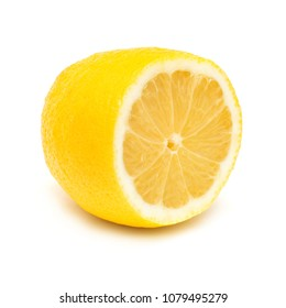 Half lemon isolated on white background. Tropical yellow fruit. Flat lay, top view