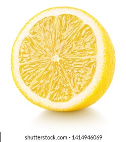 Half of lemon isolated on white background. Yellow lemon citrus fruit with clipping path. Full depth of field.