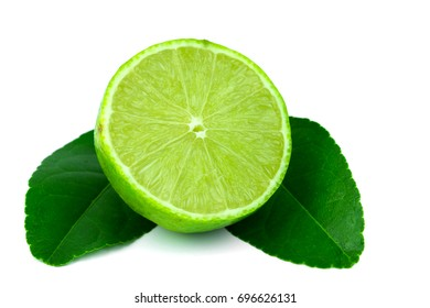 Half lemon of the leaf on a white background,Medicinal plants for cooking,The drink is sour,maintain one's health.