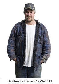 Half length of a laborer with hands in pocket