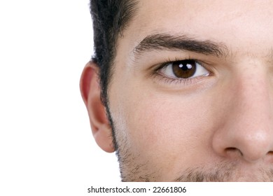 half length of man's face on an isolated on white background