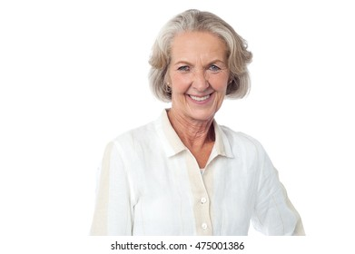 Half length picture of senior woman over white.