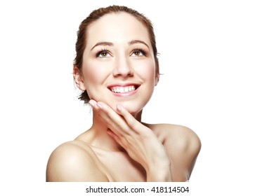 half length portrait of european beautiful young woman smiling with hand on her chin isolated on white background