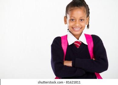 half length portrait of primary schoolgirl