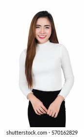 Half length portrait, Smiling young business woman portrait in white long sleeve and black short skirt on white background