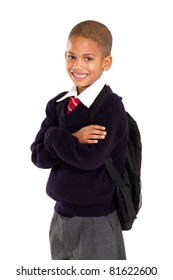 half length portrait of young elementary pupil