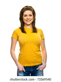 Half length portrait of young smiling woman isolated on white