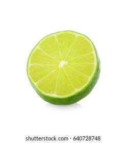 A half of lime citrus fruit with drop isolated on white background