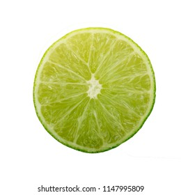 half of lime isolated on white background