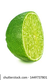 Half of lime isolated on white background. Full depth of field (all details in focus). Clipping path included.