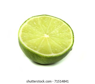 Half of lime, isolated on white background