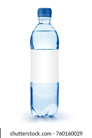 A half liter disposable plastic bottle with a blue cap and white label isolated on white background with clipping path and original shadow