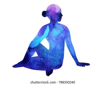 Half Lord of the Fishes Pose yoga, blue color chakra watercolor painting hand drawn illustration design, (ardha matsyendrasana)
