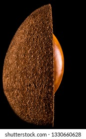 half mamey sapote with exposed seed