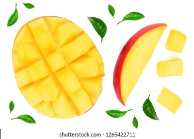 half of Mango fruit decorated with leaves isolated on white background with copy space for your text. Top view. Flat lay
