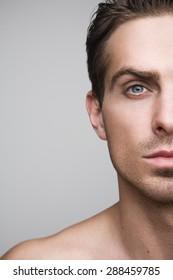 Half of a man's face