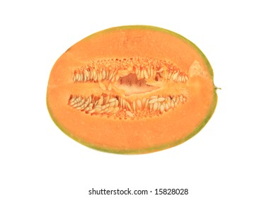 Half of melon isolated on white