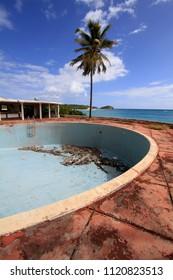 Half Moon Bay, Antigua - February 3rd 2010 : Swimming pool of hotel abandoned after Hurricane Damage