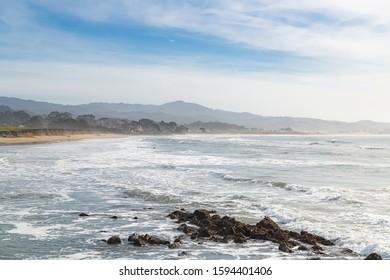 Half Moon Bay Beach, beautiful beach in California, sunrise on the Pacific coast